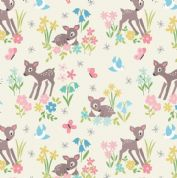 Lewis & Irene So Darling - 5747 - Baby Deer Floral on White - A286.1 - Cotton Fabric